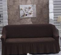 Натяжной чехол для дивана Burumcuk коричневый