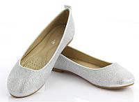 Женские балетки, лодочки туфли , туфли, на плоской подошве от производителя  серебристые