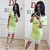 Платье с поясом и широким кружевом по низу, фото 3