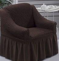 Натяжной чехол для кресла Burumcuk коричневый