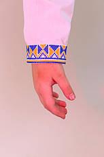Вишита сорочка хрестиком на білому батісті з українською символікою, фото 3