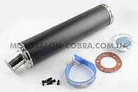 Глушитель (тюнинг)   420*100mm, креп. Ø78mm   (нержавейка, черный, прямоток, mod:4)