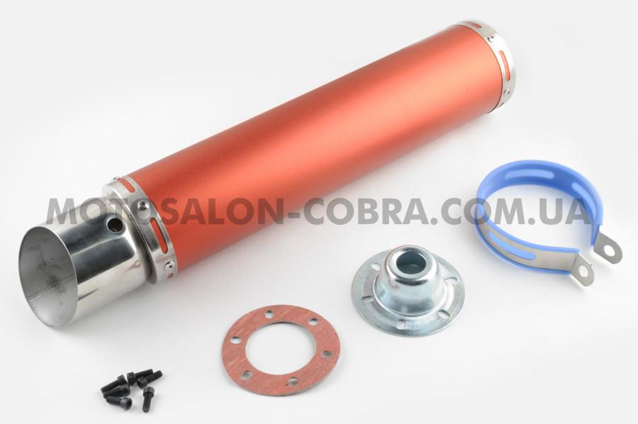 Глушитель (тюнинг)   420*100mm, креп. Ø78mm   (нержавейка, красный, прямоток, mod:2)