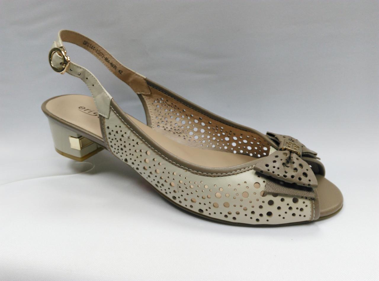 Босоножки с перфорацией на низком каблуке  Erisses. Большие размеры.