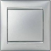 Выключатель 1 клавишный алюминий/серебро с рамкой LEGRAND VALENA, (Франция)