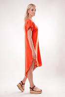 Легкое платье прямого кроя оранжевое 42