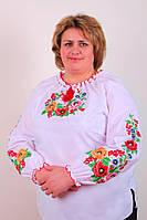 Женская вышитая блуза гладью на белом батисте большой размер