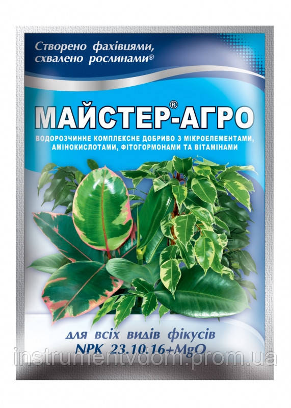 Удобрение МАСТЕР-АГРО для фикусов, 25 г (упаковка 100 шт)