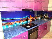 Кухонный фартук из стекла купить. Безопасное стекло. Фотопечать. Ночной Бруклинский мост