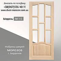 Двери из массива сосны, дверное полотно под стекло, модель М 1/5