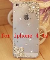 Пластиковый чехол с камнями Flover для IPhone 4/4s