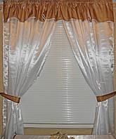Атласные шторы на кухню е037