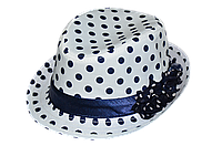 Шляпа детская челентанка цветы синий горох