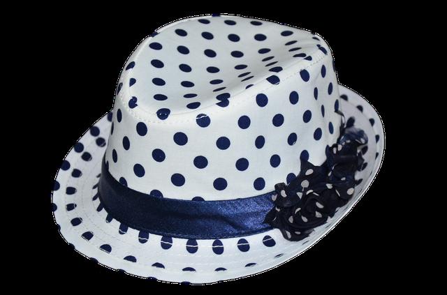 Шляпа детская с цветами синий горох