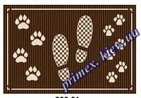 """Безворсовый придверный коврик-рогожка Natura Karat """"Следы"""" - цвет коричневый"""