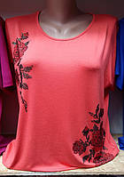 Стильная футболка в коралловом цвете