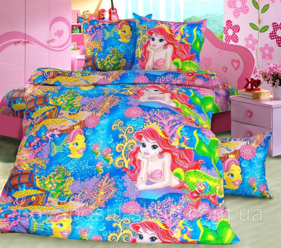 Ткань для детского постельного белья, бязь с русалочкой Морская сказка