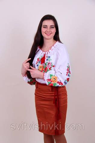 Женская вышитая блуза гладью на белом батисте с цветочным узором, фото 2