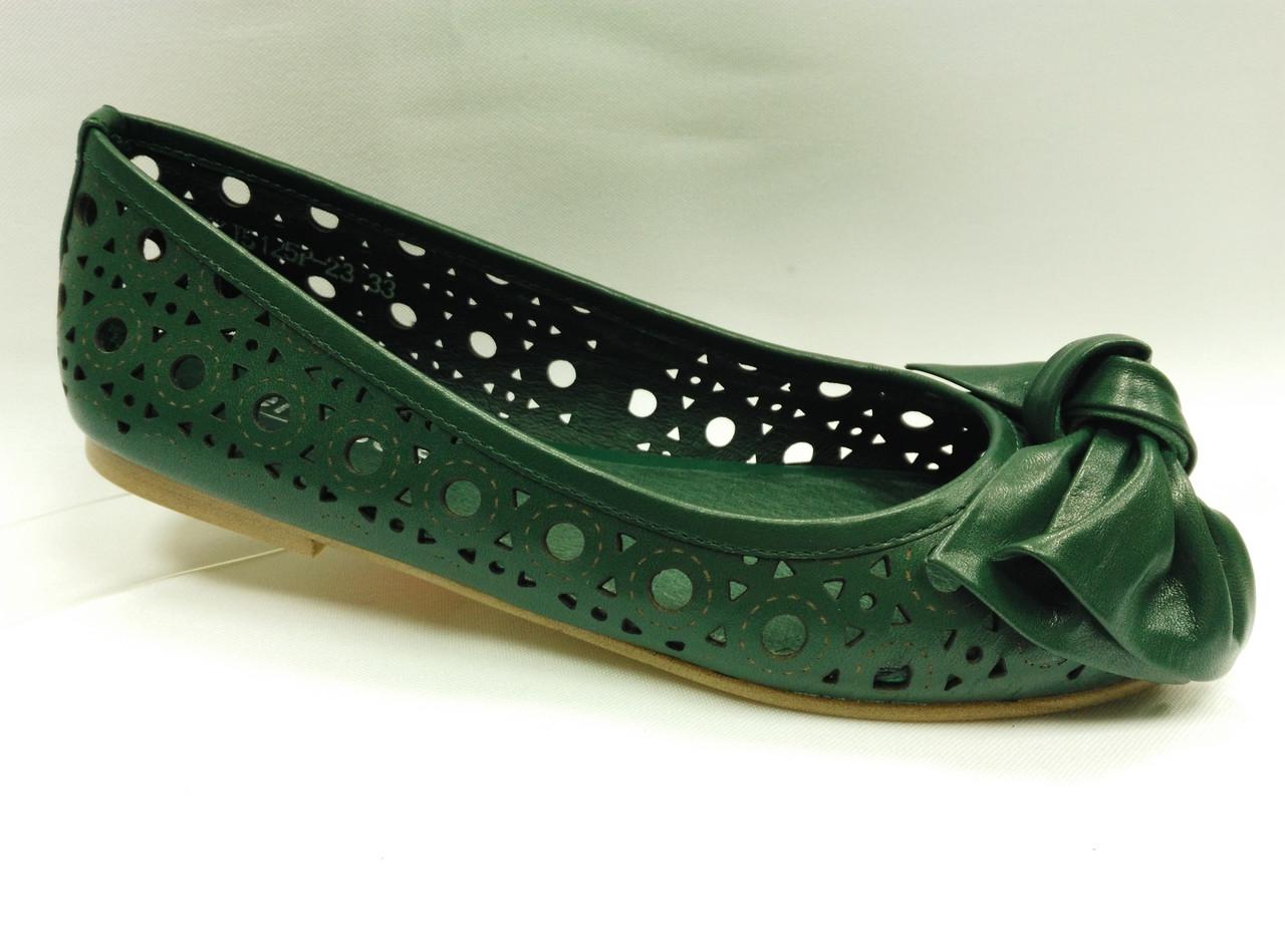 Темно-зеленые балетки с перфорацией. Erisses. Маленькие размеры (33 - 35)..