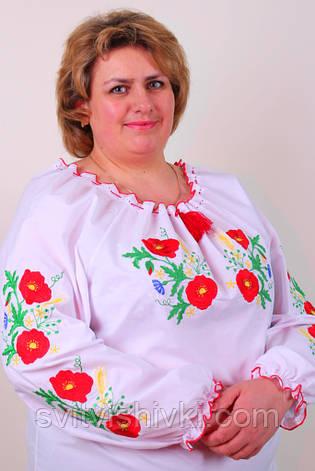 Оригинальная женская вышиванка из белого хлопка с цветочным узором гладью , фото 2