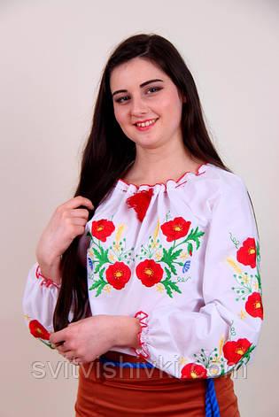 Оригінальна жіноча вишиванка з білої бавовни з квітковим візерунком гладдю, фото 2
