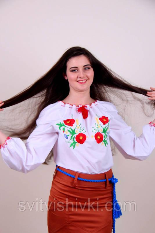 Оригінальна жіноча вишиванка з білої бавовни з квітковим візерунком гладдю