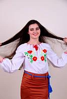 Оригинальная женская вышиванка из белого хлопка с цветочным узором гладью