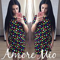 Платье легкое летнее мини из хлопка прямого кроя в разных расцветках SML180