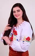 Женская вышитая блуза с красными маками и колосками