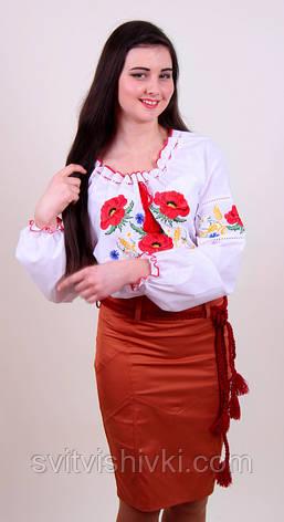 Женская вышитая блуза с красными маками и колосками , фото 2