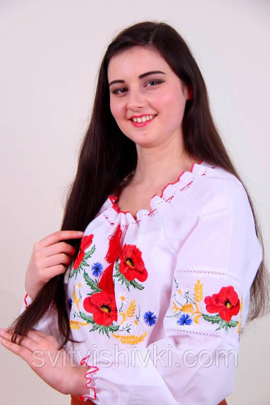 """Женская вышитая блуза с красными маками и колосками  - интернет магазин """"Світ Вишивки"""" в Хмельницком"""
