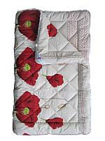 Шерстяное одеяло полуторное, Красные маки бязь (140х205 см.)