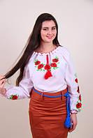 Женская вышиванка  красные Маки на белом батисте