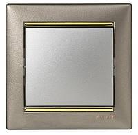 Выключатель 1 клавишный титан/золото с рамкой LEGRAND VALENA, (Франция)