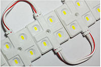 Светодиодный модуль smd 5630 холодный белый 6500K 4 диода с линзой premium, фото 1
