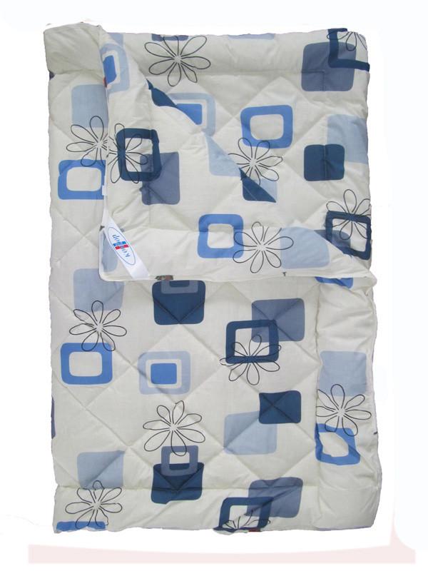 Шерстяное одеяло полуторное, Синий квадрат (195х215 см.)