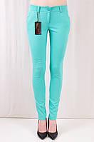 Красивые качественные облегающие молодежные брюки средней посадки, коттон.