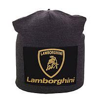 Зимняя шапка-чулок на заклепке Lamborghini (серая)