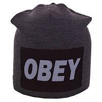 Зимняя шапка-чулок на заклепке Obey (серая)