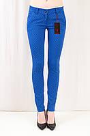 Красивые яркие облегающие женские брюки средней посадки, коттон.