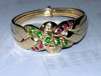Золотое кольцо головоломка (Бриллиант, Изумруд, Рубин) WickerRing