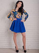 Модная молодежная юбка оригинального кроя в ярком цвете