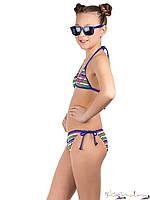 Итальянский купальник в разноцветную полосу с якорем девочка синий,розовый,белый,зеленый 72%  полиамид, 28%