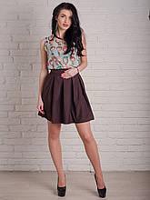 Нарядная женская юбка с декоративными складками на талии в шоколадном цвете