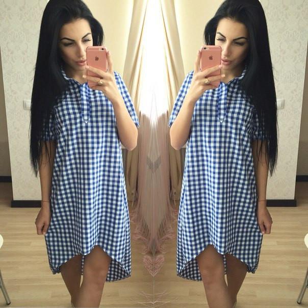 7cd3e6e4f121a76 Платье летнее в клетку с ассиметричным низом SM183 - Shoppingood в Харькове