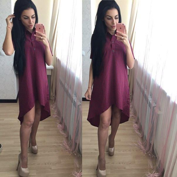 64bb20f1b7248af Смотрите больше модных платьев на нашем сайте http://shoppingood.com.ua/g9385937-modnye-stilnye-platya.  Платье летнее в клетку с ассиметричным низом.
