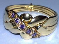 Золотое кольцо головоломка с Аметистом WickerRing