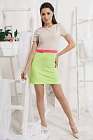Женское разноцветное платье с дайвинга и короткими рукавами