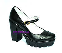 Женские кожаные туфли на тракторной подошве, фото 1