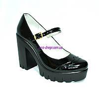 Женские туфли на тракторной подошве, натуральная лаковая кожа, фото 1